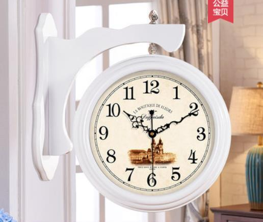 Wood Double Sided Solid Wall Clock Pow Wall Watch Mechanism Modern Quartz Double Faced Clock Relogio Parede Decor Clocks