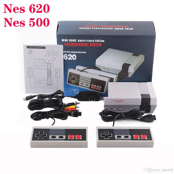 La mini TV puede almacenar 620 500 EU / Plug US / Plug Consola de juegos de 2 botones Video portátil para consolas de juegos NES con caja de venta al por menor