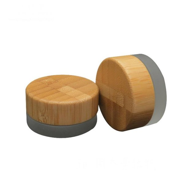 Free Shipping New 5ml frosted glass jar with bamboo lid wax cosmetic cream container 5g storage container SN2225