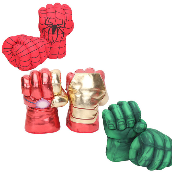 10inch Hot Sale Gloves Incredible Hulk Smash Hands Spider Man Plush Gloves Performing Props Figure Toys Y190604