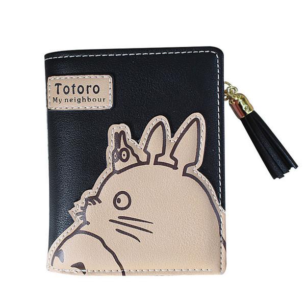 good quality 2019 Fashion Korean Women Wallet Cartoon Animation Small Leather Wallet Cute Totoro Tassel Zipper Clutch Coin Purse