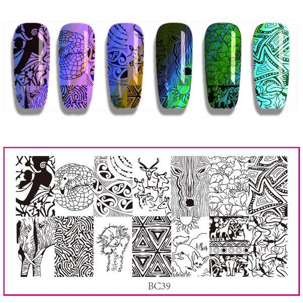 12 * 6 cm BC Serie Nagel Stamping Platten DIY Bild Kunststoff Nail art Maniküre Vorlagen Salon Schönheit Polnischen Werkzeuge