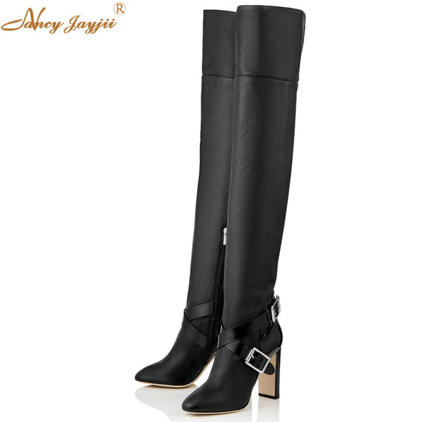 woman's strap and buckle genuine cow leather over the knee boots winter pointy toe zipper fashion shoes square heel 12 cm - from $147.73