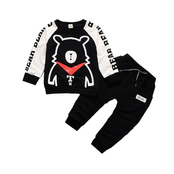 2019 Fashion Spring Autumn Children Boys Girls Clothing Sets Baby Cartoon Bear T-shirt Pants 2Pcs/Sets Kids Cotton Tracksuits