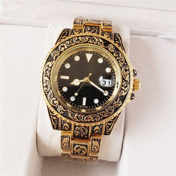 Marca suiza Relojes para hombre Tallado Correa de acero inoxidable Movimiento de cuarzo Diseñador de moda de alta calidad Reloj impermeable Reloj de pulsera de oro negro