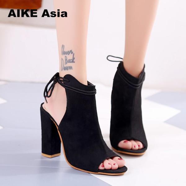 Дизайнерские туфли женские туфли на высоком каблуке сексуальные сандалии на высоком каблуке женские летние замшевые плюс размер 35-43 дамы толстый каблук ремешок лодыжки с открытым носком сандалии