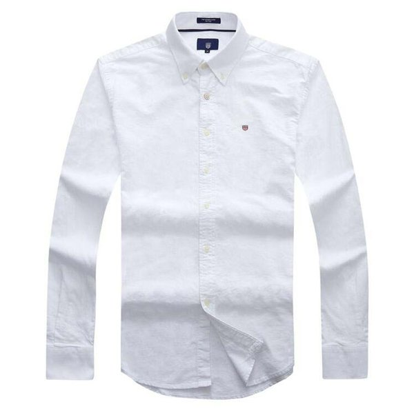 Luxury brand designer mens green oxford long sleeve business shirts high quality embroidery blouses social shirts men dress overall clothing