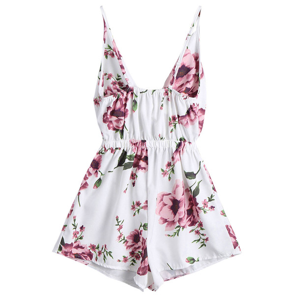 Summer Chiffon Jumpsuits Women Beach Style Boho Floral Print Playsuit Shorts Girls Lady Sexy Deep V-Neck Sleeveless Rompers #Zer
