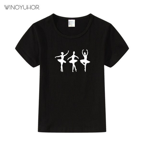 2019 Brand New Summer Fashion Ballet Ballerina Dance Clothes For Kids Ballet Girl Print Harajuku Kawaii Girls T Shirt Camisetas