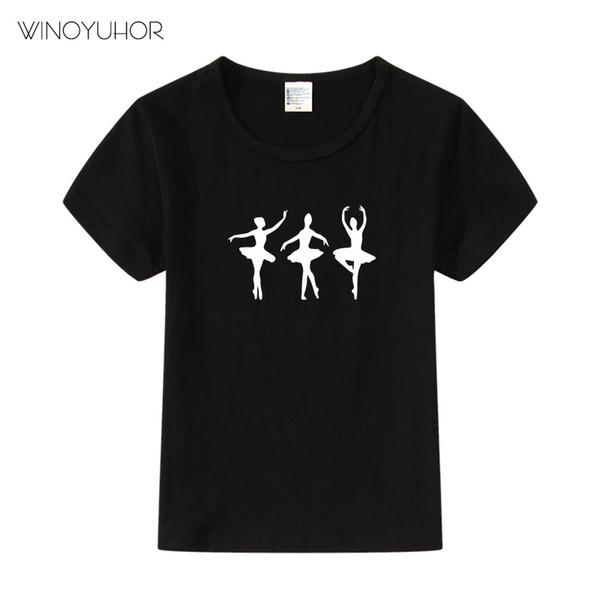 2019 nuevo verano de moda ballet bailarina ropa de baile para niños ballet chica imprimir Harajuku Kawaii niñas camiseta Camisetas