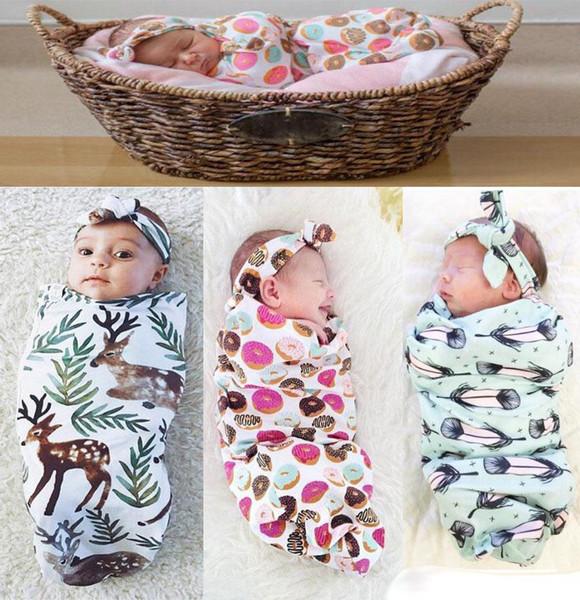 INS New Infant Baby Swaddle Baby Boys Girls Muslin Blanket & Headband Newborn Baby Soft Cotton Cocoon Sleep Sack Two Piece Set Sleeping Bags