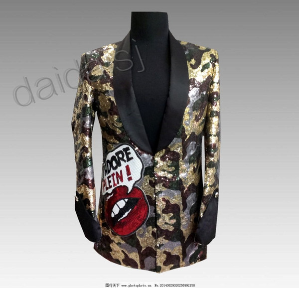Nightclub male singer bar men's DJ rock guest flame red lips camouflage sequins long costumes blazer masculino oversize xs-5xl