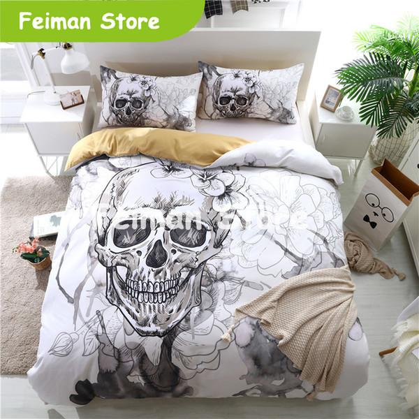 Juegos de cama de calavera 3D Fundas nórdicas de color blanco para cama King Size Estilo europeo Funda de edredón de cama de calavera de azúcar con funda de almohada