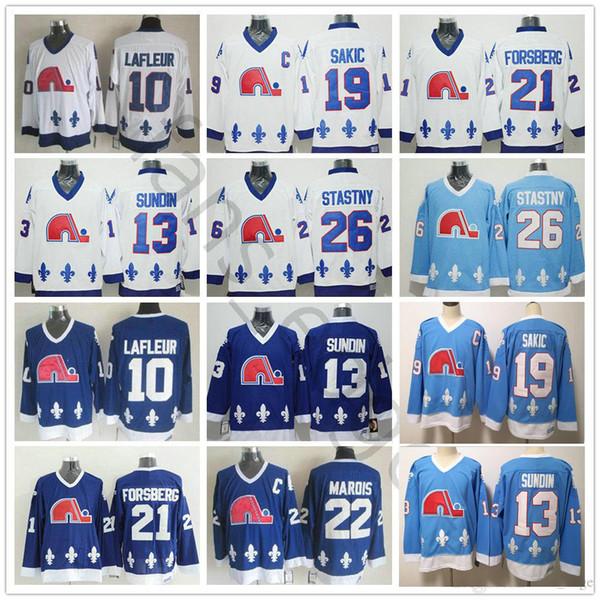 Vintage Quebec Nordiques Hockey Jersey 19 Joe Sakic 21 Peter Forsberg 26 Peter Stastny 22 Marois 10 Guy Lafleur 13 Mats Sundin jerseys