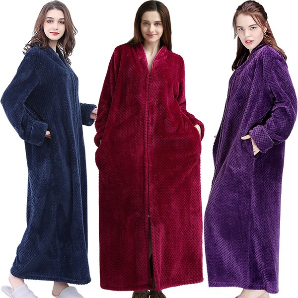Mulheres extra longas Plus Size quente grossa Sleepshirts inverno homens coral fleece Zipper Nightgowns grávida Robe flanela Night Dress