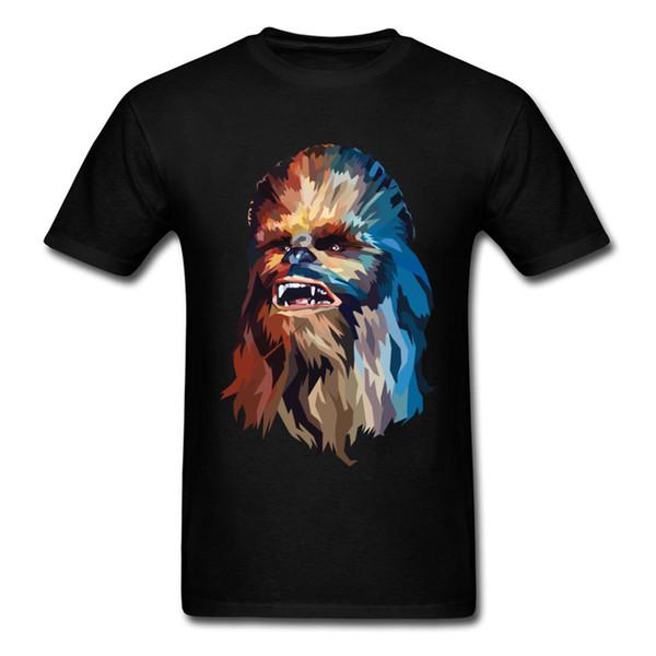 Chegada nova Chewy Retrato Top Tee Homens Camiseta Preta Funky Rua Roupas 80 s Hip Hop T-shirt 2018 Verão