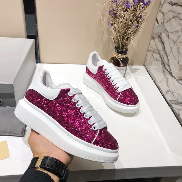 2019 New Mens Womens White Green Back Platform Shoes Flat Casual Shoes Lady Black Pink Red Gold Women White mk149