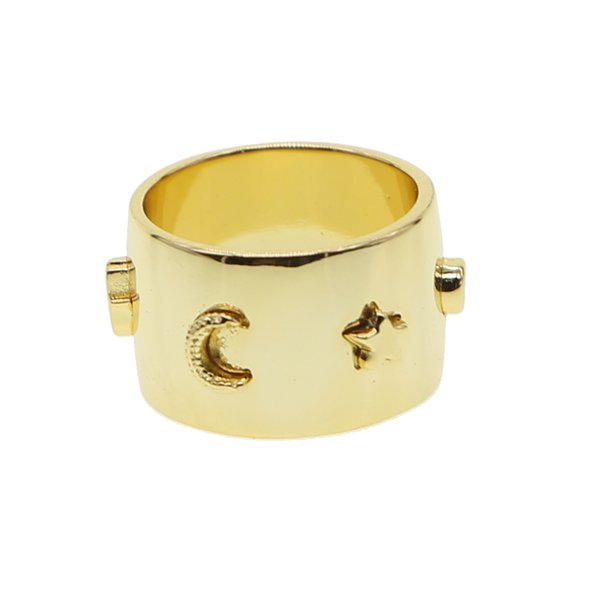 Gold color lucky symbol ring women finger jewelry european engraved moon star cz wide engagment band rings
