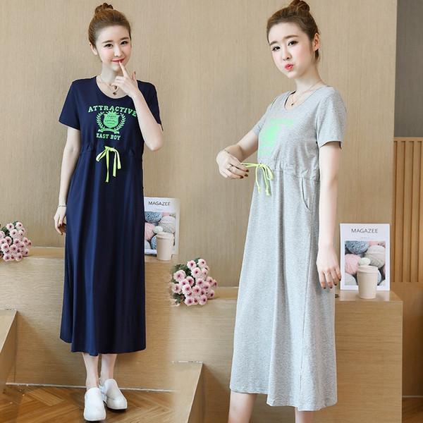 2019 nuevas mujeres embarazadas vestido suelto temperamento madre caliente cargada moda coreana impresión de dibujos animados embarazo falda