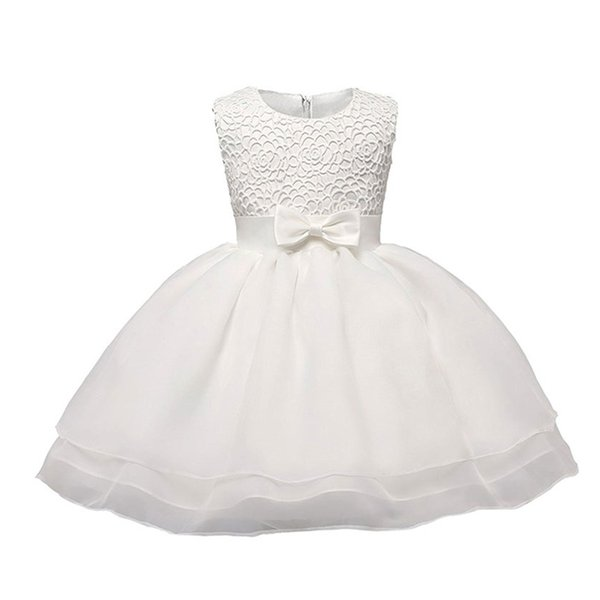 Verano recién nacido bebé niña 1 2 años vestido de cumpleaños encaje niña pequeña fiesta bautismo ropa vintage blanco bebé vestido de novia