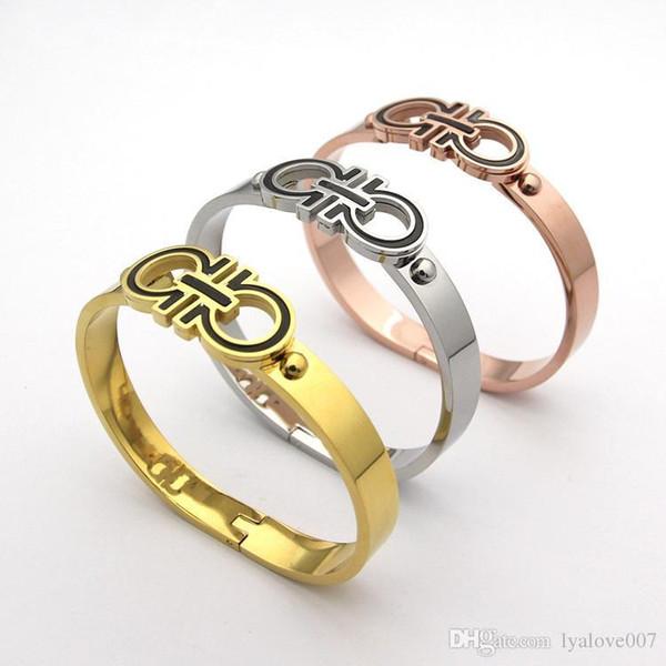 Fashion Design originale Semplice 18k oro rosa Amore braccialetti di fascino donne titanio acciaio inossidabile coppia D Cuff Bangle regalo
