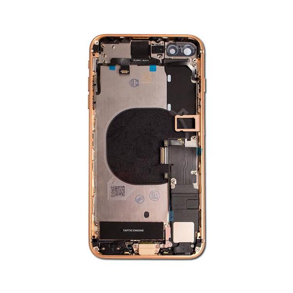 IPhone 8 için Artı Tam Konut Orta Çerçeve Şasi Pil Kapağı Flex Kablo Meclisi ile Arka Kapı Cam