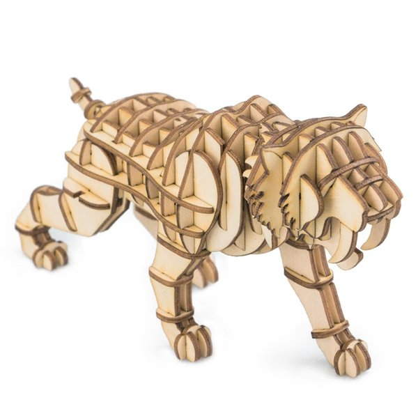 3D wooden Puzzle-Wild Animals Tiger toy hobbies model building kits for children educational baby & toddler popular toys TG204