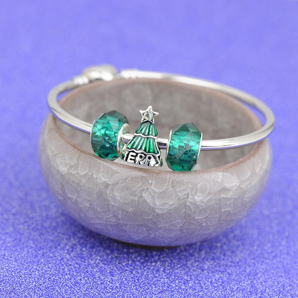 2019 Shining Stainless Steel Charms Bracelets Fit Pandora Girl Boy Green Tree Glass Beads Silver Bangle Jewelry Christmas gift Children Best