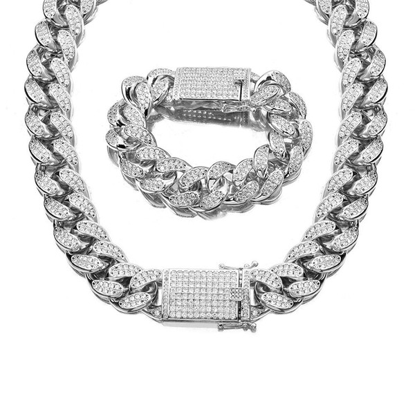 hiphopkingdom / 18mm Never Fade Silver Stainless Steel AAA Rhinestone Cuban Necklace Bracelets Set Men Hip Hop Bling Iced Out Link Chain Jewelry