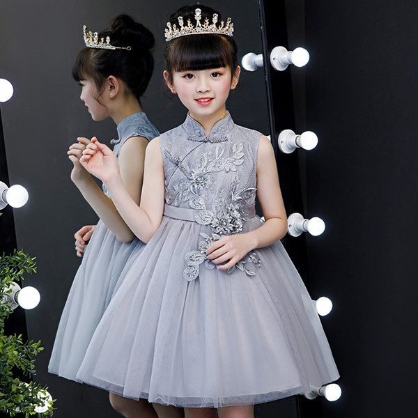 Chinese Traditional Chinese Style Children Girls Elegant Red Embroidery Lace Flower New Year Tang Suits Dress Kids Guzheng Dress