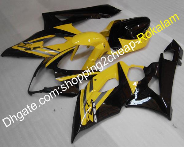 Carenados K5 para Suzuki GSXR1000 05 06 GSXR 1000 2005 2006 GSX-R1000 GSX R1000 Juego de carenado negro amarillo (moldeo por inyección)