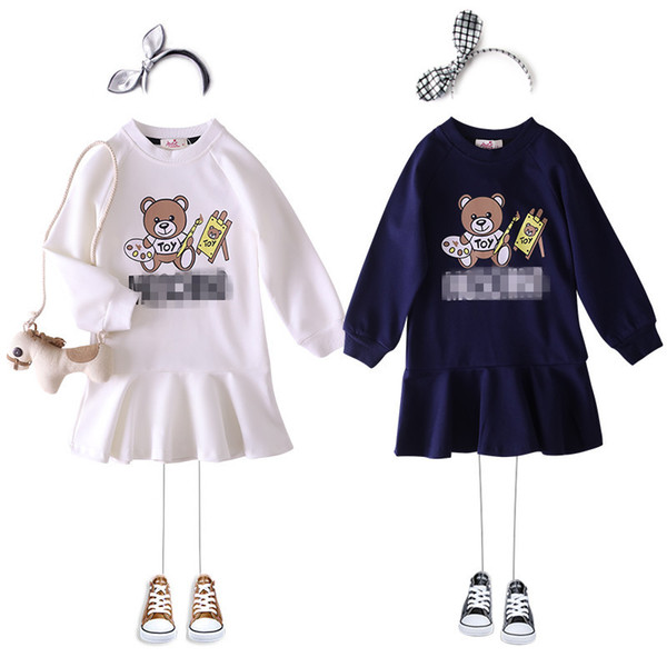 2019 de alta calidad de caídas niñas ropa de manga larga vestidos de los niños de la marca de moda animal print niñas rizan el traje con capucha chicas Boutique