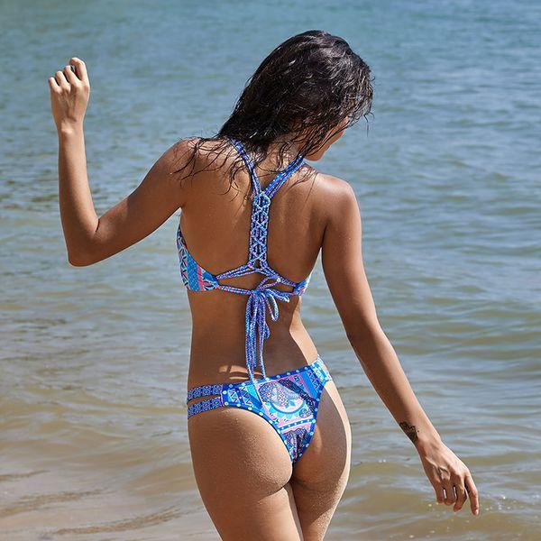 Halter Bikini Floral Women Swimsuit Hand Made Bandage Bikini Set Sexy Bathing Suit Padded Beach Wear Maillot De Bain