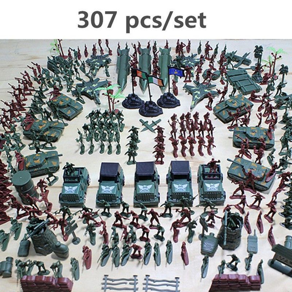 307pcs/lot Military Plastic Soldier Model Toy Army Men Figures Accessories Kit Decor Play set Model Toys For Children gift