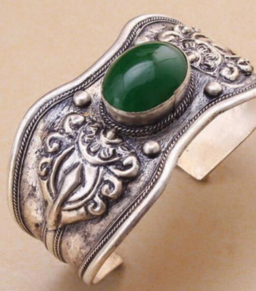 Pulseira 914 +++ Retro Vintage Dragão Verde Cuff Bracelet Bangle Tibet Silver