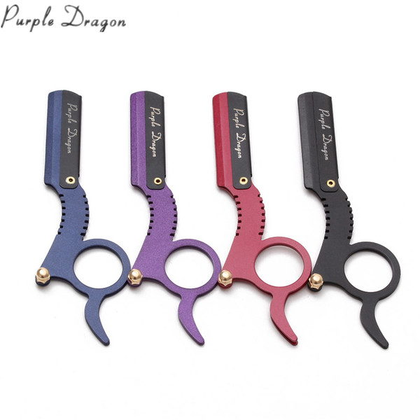 1Pcs 12.7cm Purple Dragon Stainless Men Straight Barber Edge Steel Razor Shaving Knife Hair Removal Tools + 1Piece Blade Popular Style Z6111