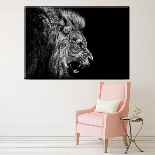 1 Peça de Arte Da Parede Da Lona Cartaz Animal Leão Pintura Da Lona Decoração de Casa Parede Pictures Imprimir Para Sala de estar Imagens de Arte de Impressão Sem Moldura Emoldurado