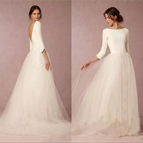 Günstige Modest Brautkleider A Line Top Rückenfrei 2019 Brautkleider mit langen Ärmeln Einfache Designer Tüllrock Sweep Zug