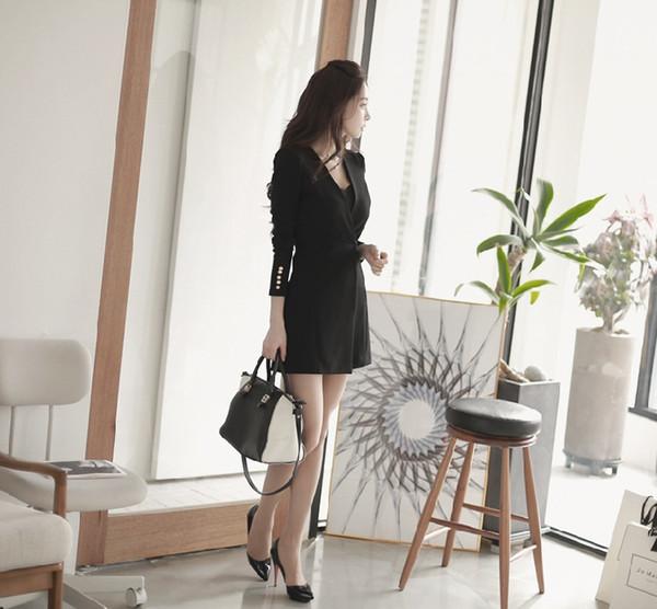 2019 nouvelle mode coréenne printemps automne femmes OL bureau bureau couleur unie col v manches longues blazer robe jupe costume professionnel