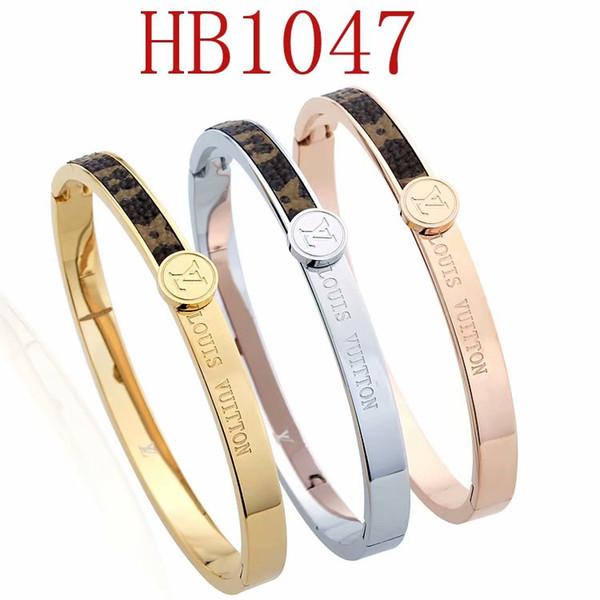 Top Qualität L Designer Name 316L Titan Stahl Armreif mit brauner Farbe für Mann Armband Mode Hochzeit Schmuck Geschenk mit Box