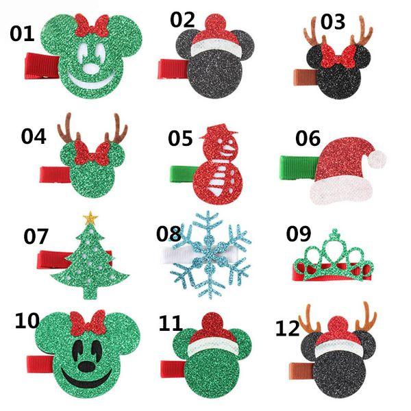 Ins New Christmas kids hair clips cute cartoon baby BB clips glisten girls barrettes designer hair accessories baby accessories A7013