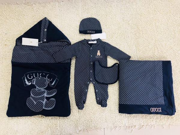 Nuovo Modello pagliaccetti del bambino Designer per bambini Stripes risvolto lunghe delle tute del manicotto infantile delle ragazze Lettera ricamo del cotone del pagliaccetto vestiti del ragazzo