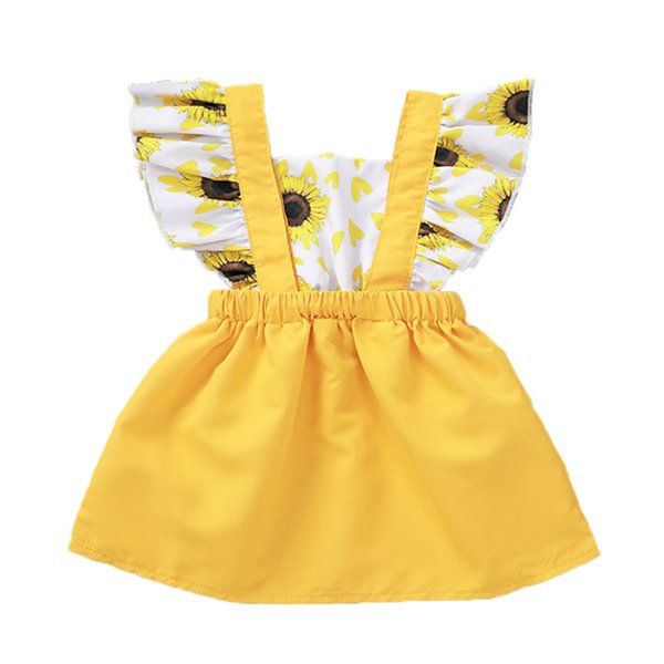 Newborn Baby Girl Dress Cartoon Sunflower Heart-shaped Printing Splicing A-Line Dress Square Collar Little Fly Sleeve Dress 3-24M