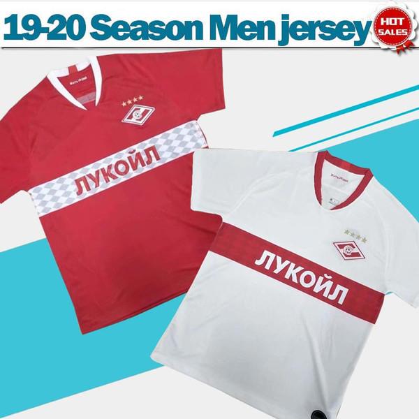 2020 Spartak Moscou Soccer Jerseys 19/20 Hommes Red Soccer Shirts équipe de club blanc uniformes de football à manches courtes