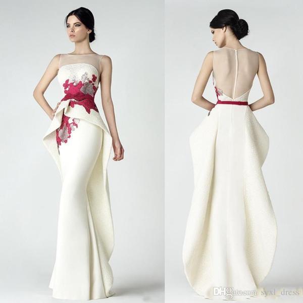 Elegante branco plus size sereia vestidos de baile 2019 vestidos de festa formais desgaste do laço chique com peplum ilusão pescoço