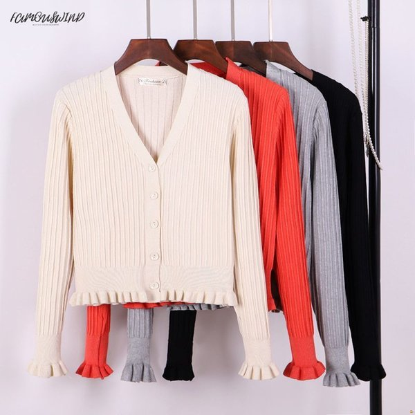v women cardigan sweater ribbed knitted  neck ruffled cute girls coat spring autumn jacket knitted sweaters