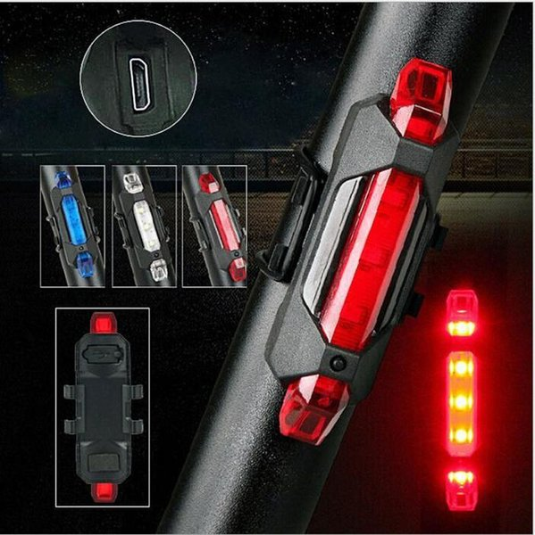 top popular Portable 5 LED USB MTB Road Bike Tail Light Rechargeable Safety Warning Bicycle Rear Light Lamp Cycling Bike light 2021