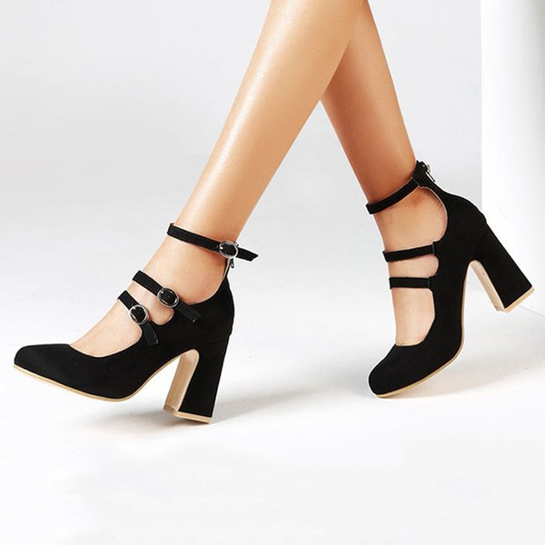 Mode Nouvelles Femmes Pompes Talons Hauts Boucle Femmes Chaussures Sandales D'été Blocs Talons Sexy Femme Plus La Taille 42