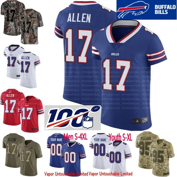 new arrival d3af9 3b9b1 2019 100th Anniversary Custom Men Youth Women Josh Allen 11 Cole  BeasleyTremaine Edmunds White Jim Kelly Kyle Williams Bills Camo Elite  Jersey From ...