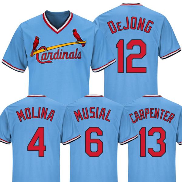 hot sale online fdfe3 d4ca7 2019 2019 Mens Baseball Jerseys St. Louis Cardinals 13 Matt Carpenter 4  Yadier Molina 12 Paul DeJong 6 Stan Musial Embroidery Shirt Cheap Blue From  ...